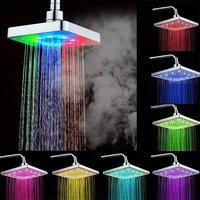 6 pulgadas LED Precipitaciones Cabezal de Ducha Rociador Superior 7 Colores Cambio Gradual y Sensor de Temperatura de 3 colores Cabezal De Ducha Fija Cuadrada