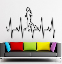 Free shipping  Healthy Lifestyle Running Fitness Wall Decal Vinyl Decals Mural Wallpaper Removable Home Decoration