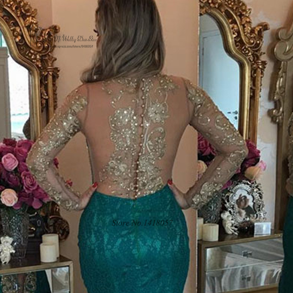Sexy Formal Green Gold Lace Evening Dresses Long Sleeve Mermaid Prom Dress Beaded Special Occasion Gown Vestido de Festa Abiye