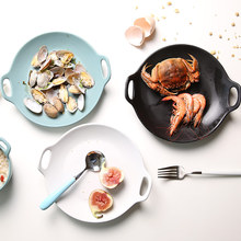 1 PC European Style Dinner Plates Matte Glazed Ceramic Round Dishes with Double Handles Steak Pasta Dessert Plates 3 Colors