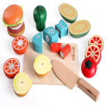 Newest Desgin Magnet Wooden kitchen Toys for Girls Vegetable Fruit Cooking Set Food Simulation Educational Toys For Children