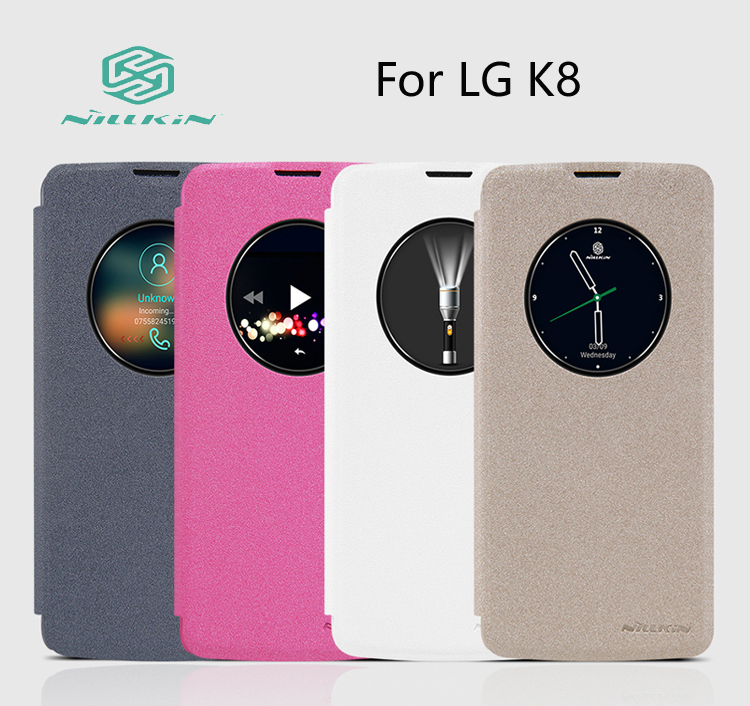 Case for LG K8 NILLKIN Sparkle Leather case flip cover phone cases Retailed Package cover for