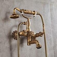 Nowościach wysokiej jakości całkowita mosiądz antyczne wykończone łazienka bateria natryskowa zestaw, wanna prysznic kran zestaw z ręcznych głowy