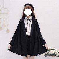 Female Jackets 2019 Spring New Japan Students Loose Cute Cloak Long sleeved A Line Kawaii Loli Femme Poncho Girls Short Cape