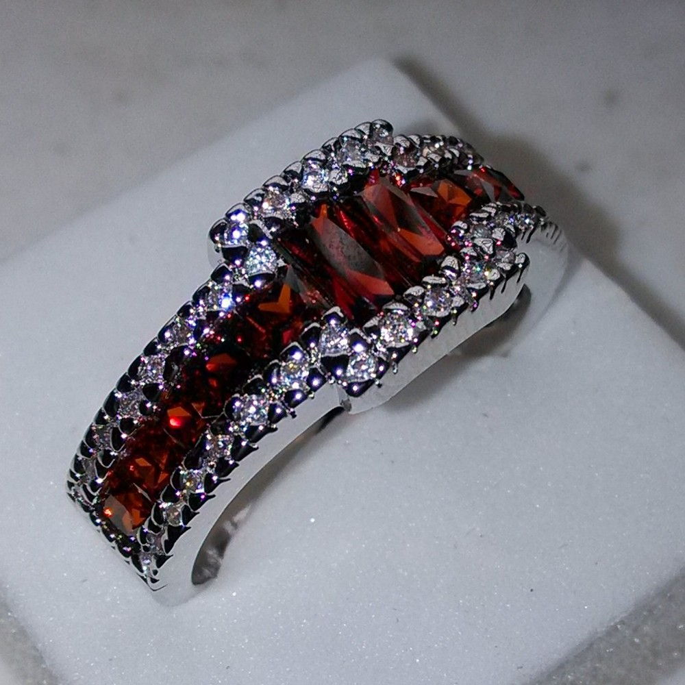 fashion jewelry men princess garnet 5a zircon stone 10kt white gold filled engagement wedding ring sz - Garnet Wedding Rings