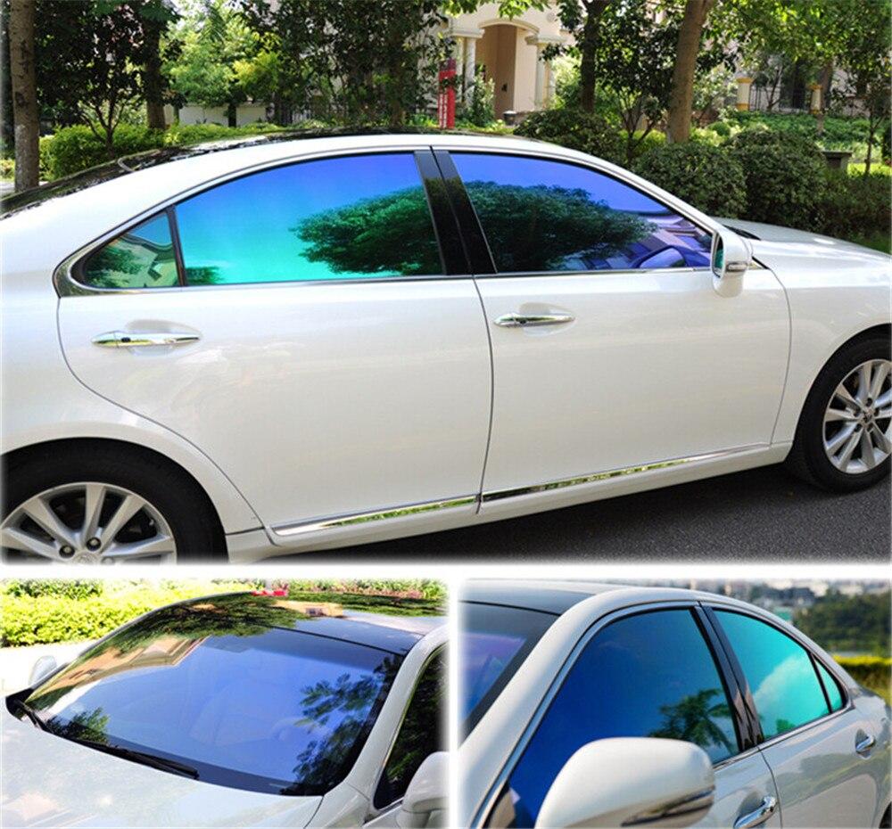 창 색조 SUNICE 50*100/200/300/500cm 블루 & 그린 VLT 55% 개인 정보 보호 색조 자동 홈 창 색조 필름 여름 음영 필름 자동차 색조