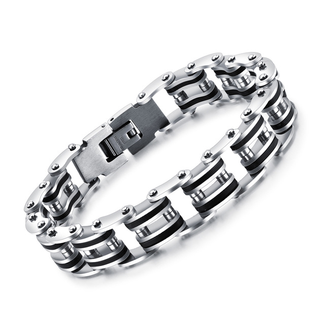 Personality Stainless Steel Men S Punk Bracelet Silicone Chain Link Mens 2017