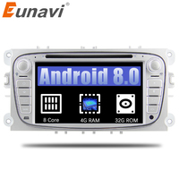 Eunavi 7 ''Android 8,0 4 г Оперативная память Octa 8 Core автомобильный dvd радио стерео плеер для Ford Focus Mondeo s Max Cmax Galaxy gps 3g WIfi USB CD