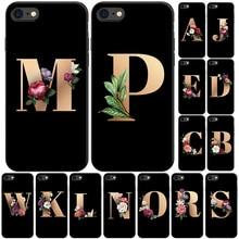 Черный чехол для телефона с буквенным алфавитом и цветочным принтом для iPhone x, 7, 7 s, 5, 6, 6 s, 8 plus, Xs, XR, Max, SE, силиконовый чехол для телефона