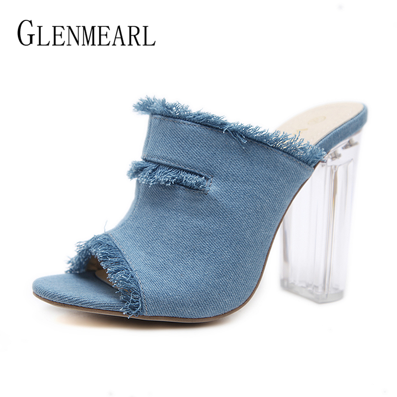 Brand Women Slippers High Heels Shoes Women Summer Shoes Open Toe Denim Mules Fashion Female Slippers Outside Party Shoes DE сумка coccinelle coccinelle co238bwynt80