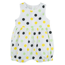 100% Cotton Baby Girl Jumpsuit Sleeveless Dots Toddler Newborn Clothes Infant Summer Body Suits Buttons at Back