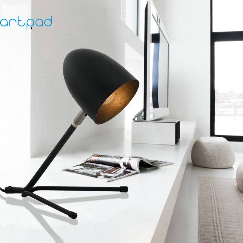 ArtPad Minimalist Night Stand Desk Lamp Unique Design Rotatable Lampshade Study Metal Black Table Lamp (E27 Bulb Included) schnadig тумба empire ii night stand