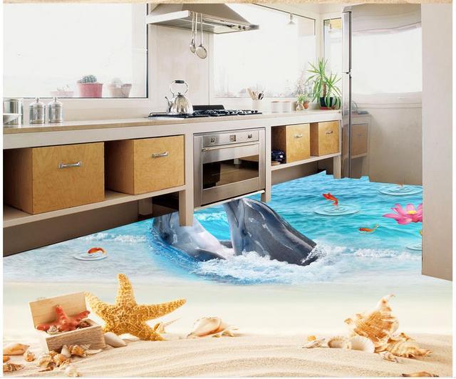 3d Fußboden Folie Kaufen ~ D boden malerei tapete dolphin bay liebe strand starry fliesen