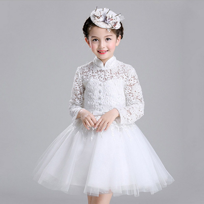 цены Kids Hollow dress Party Wedding Princess New Lace Flowers Girls Dresses High Quality Child's Wear Children Clothes Size100-150