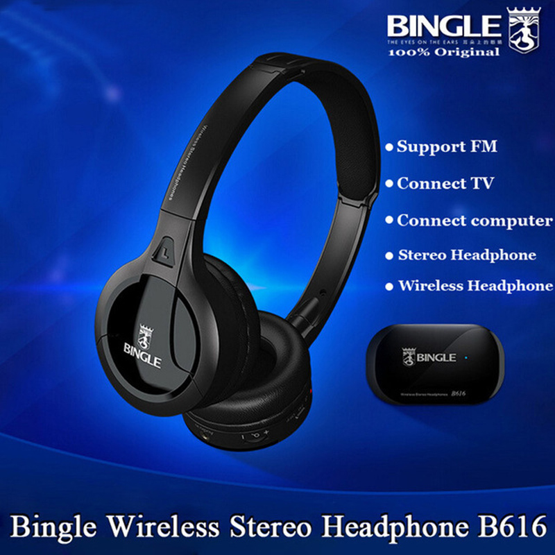 bilder für Bingle B616 5in1 Wireless Kopfhörer Kopfhörer HiFi Monitor FM DJ MIC für PC TV DVD Audio Mobil Stimme Chating Wireless Tv-kopfhörer