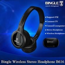 Bingle B616 5in1 Wireless Headphone Earphone HiFi Monitor FM DJ MIC for PC TV DVD Audio Mobile Voice Chating Wireless TV Headset