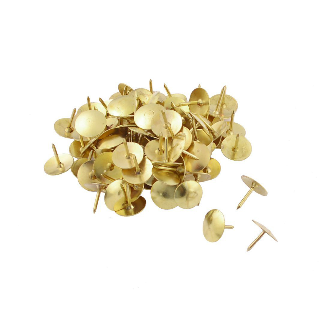 100 Pcs Pack Office Gold Tone Thumbtacks