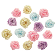 Lucia crafts  Multi color 10mm Satin Flower Head Girls  Hair Bow Headwear DIY Garment Craft B0103