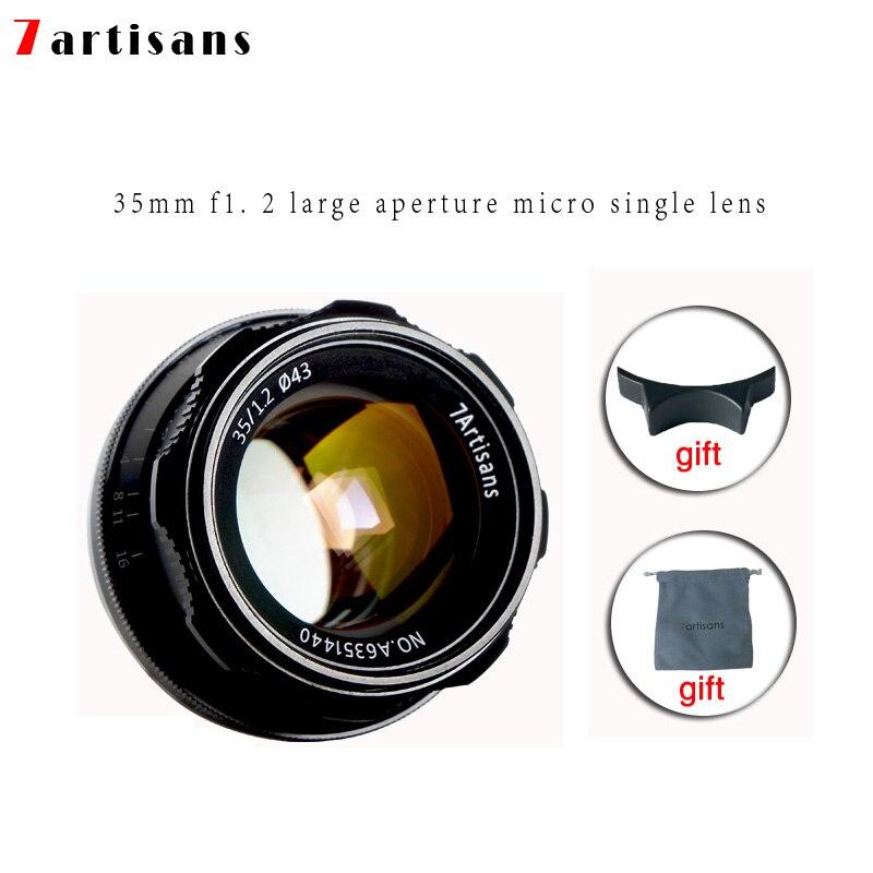 7 artesãos 35mm F1.2 Prime Lens para Sony E mount-//para Fuji XF APS-C Manual Da Câmera mirrorless Lente de Foco Fixo A6500 A6300 X-A1