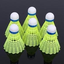 6 шт. супер прочный/светильник пластиковый нейлоновый мяч для бадминтона Тренировочный Мяч Пластиковый шаттл пробковая деревянная шаровая Головка