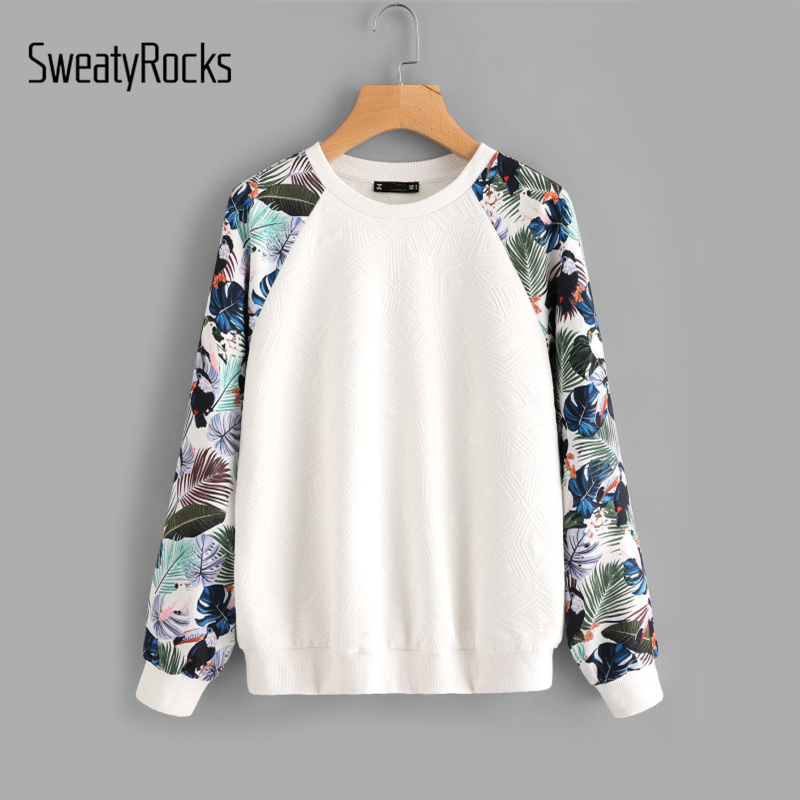 SweatyRocks Tropical Print Raglan Sleeve Textured Sweatshirt Women Patchwork Crew Neck Long Sleeve Active Pullovers Sweatshirt