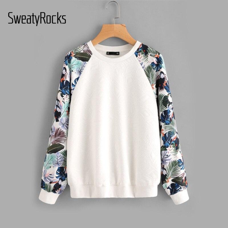 SweatyRocks Tropical Print Raglan Sleeve Textured Sweatshirt Women