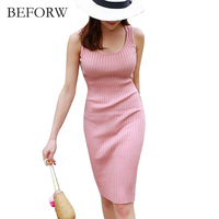 BEFORW Summer Pink Sweet Style Women Dress Stripe High Quality Cozy Dresses Elegant Leisurely Office Dress