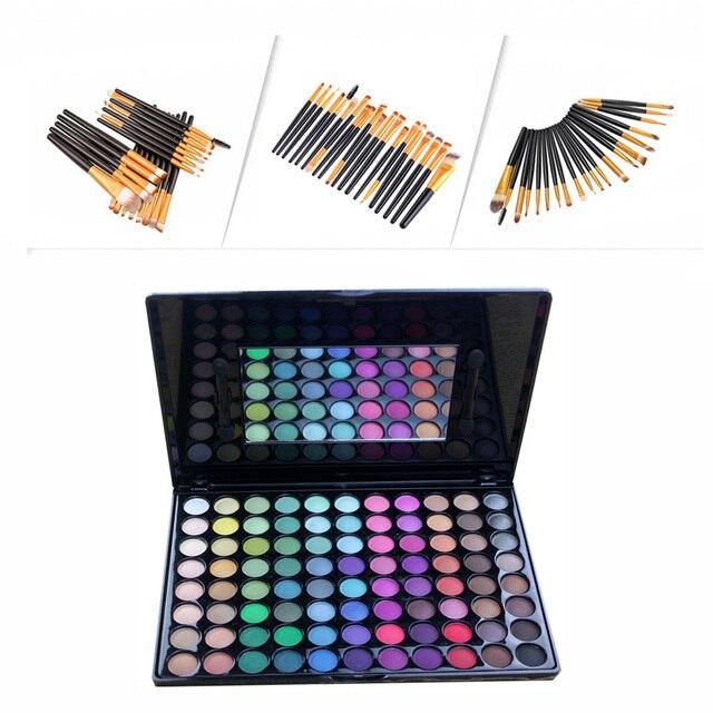 Fashion 20pcs Powder Eyeliner Blusher Makeup Brush Pincel Maquiagem +88 Colors Matte Shimmer Eyeshadow Palette Cosmetic Set Kits