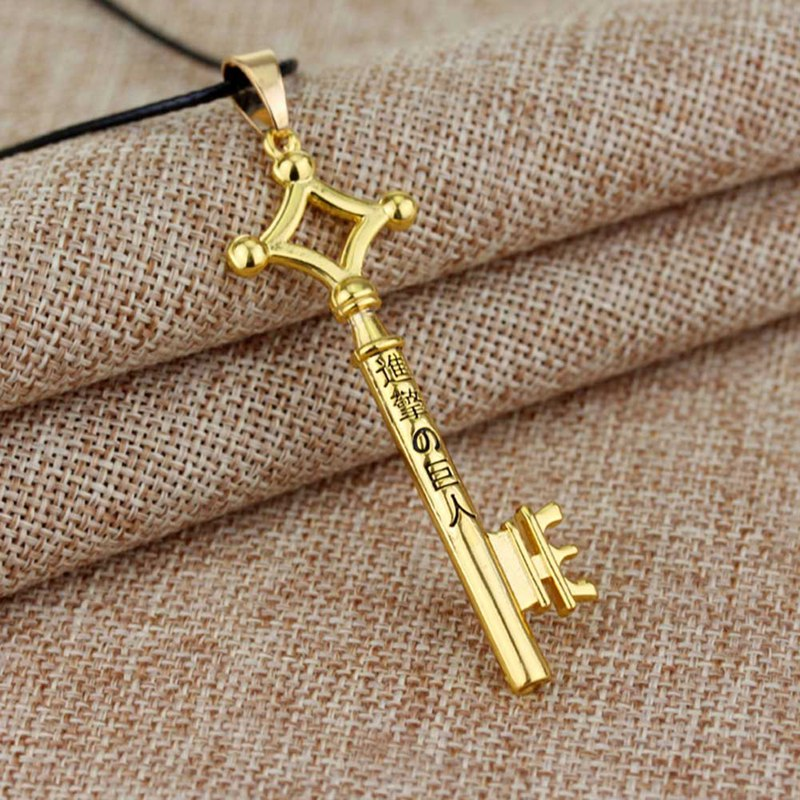 Hot Attack On Titan Metal Key Pendant Necklace Leather Rope Necklace For Women Men Jewelry Accessories Gift