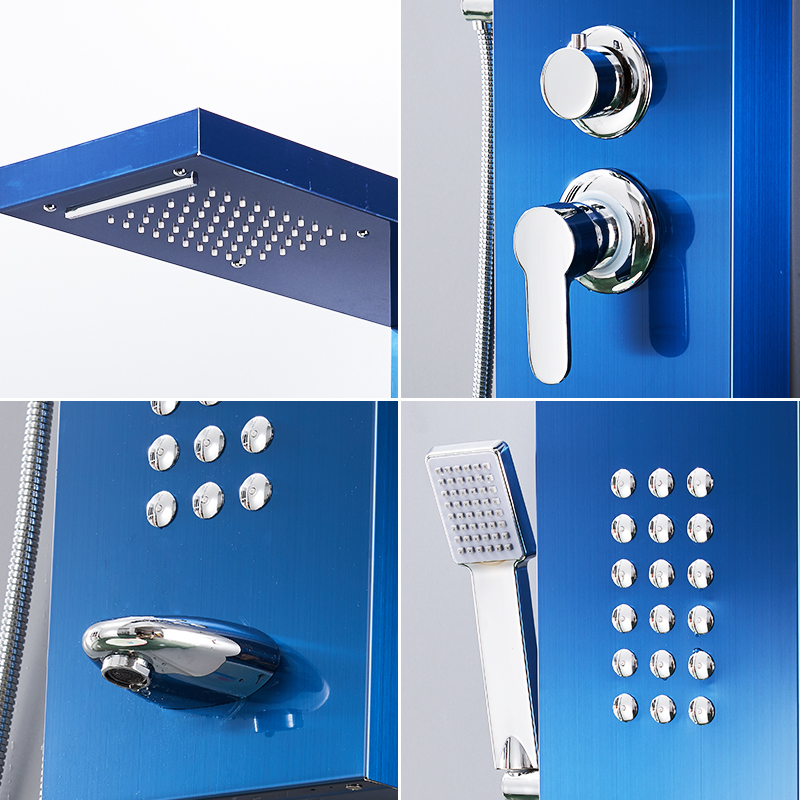 Shower Equipment Flg Bathroom Shower Panels Stainless Steel Sapphire Rain Waterfall Shower Panel Massage System Shower Column With Jets Shower Faucets