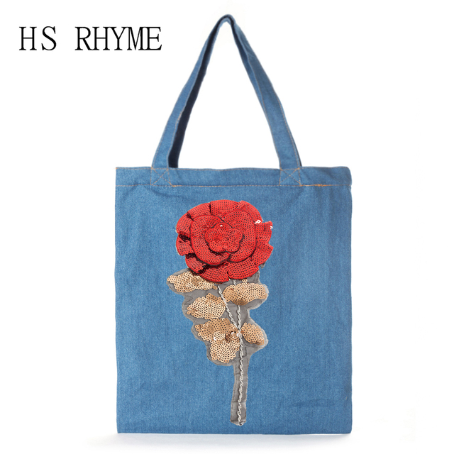 4c9771effd30 HS RHYME Jeans,Embroidery,Women Bags,Rose,Cotton,Bags,Casual Messenger  School Satchel Totes,Shopping Shoulder Sac Bolsa