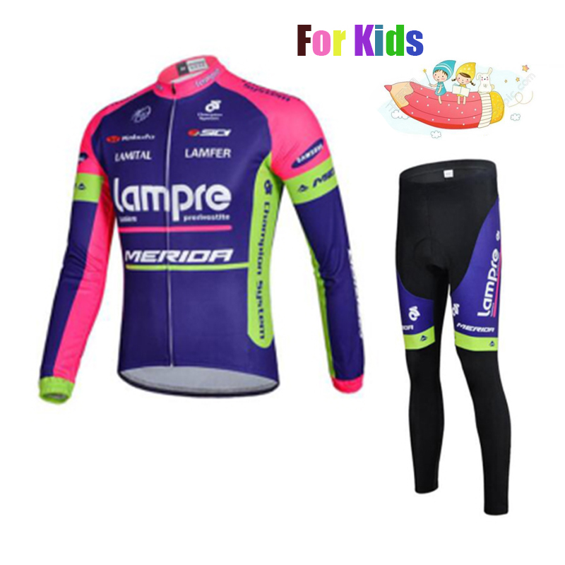 Lampre Spring Autumn Team Long Sleeve Children Cycling Jersey Set Professional Customization Quick Dry Kid Riding Kit with Pad