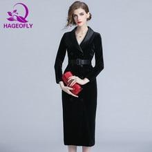 HAGEOFLY Autumn Winter Velvet Dress Black Red Long Sleeve Turn-down Collar Women  Dress Office Ladies Bodycon Party Vestidos 2018 785f1a7ca3b1
