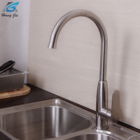 Contemporary Kitchen Faucet Hot And Cold Mixer Water Tap Deck Mounted Rotate Stainless Steel Basin Sinks