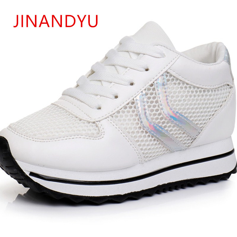 2018 Casual Shoes Woman Summer Increasing 6CM Wedge Sneakers Platform for Women Hollow Breathable
