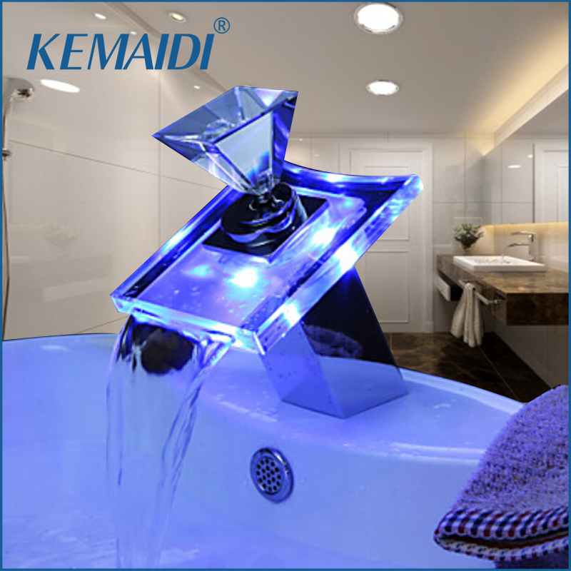 KEMAIDI Luxury Deck Mount Waterfall Basin Faucet LED Color Changing Glass Spout Mixer Tap Chrome Finish Single Hole/Handle