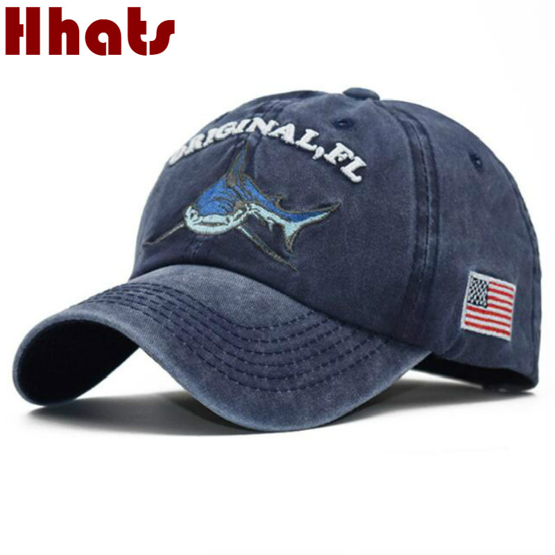 Embroidery Washed Cotton Shark Dad Hat For Men Vintage   Baseball     Cap   Hip Hop Curved Fishing   Cap   Summer Fish Snapback Women Hat