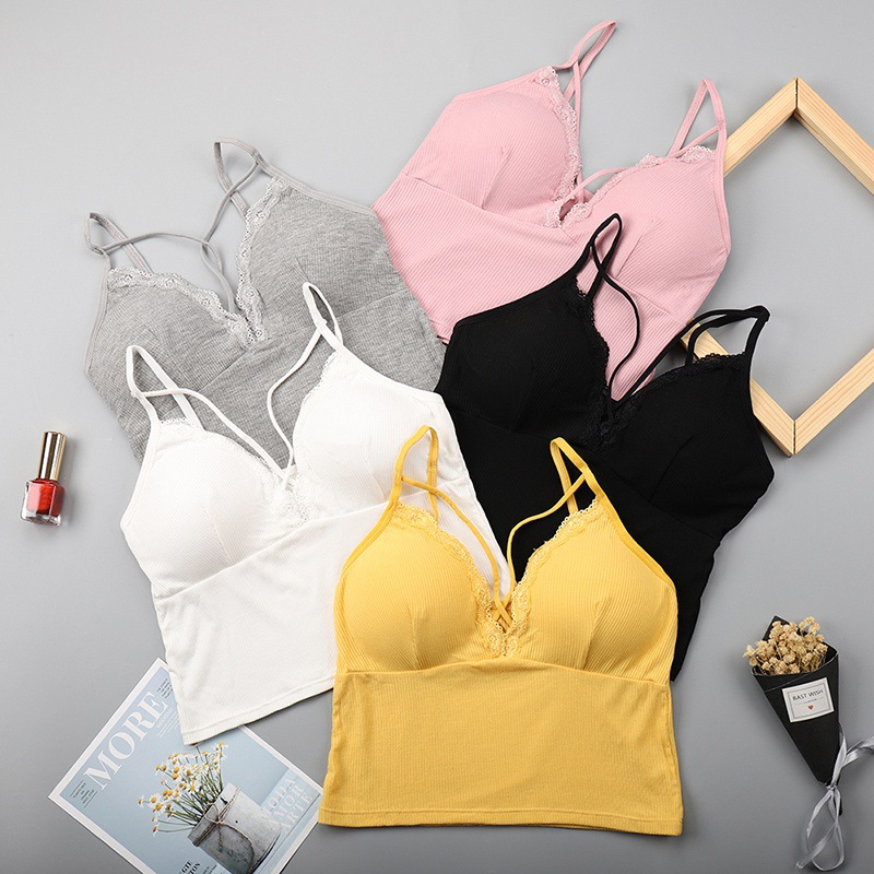 Women Lace Tube Top Sexy Camisole Bralette Sexy Cross Strap Beauty Back Camisole Vest