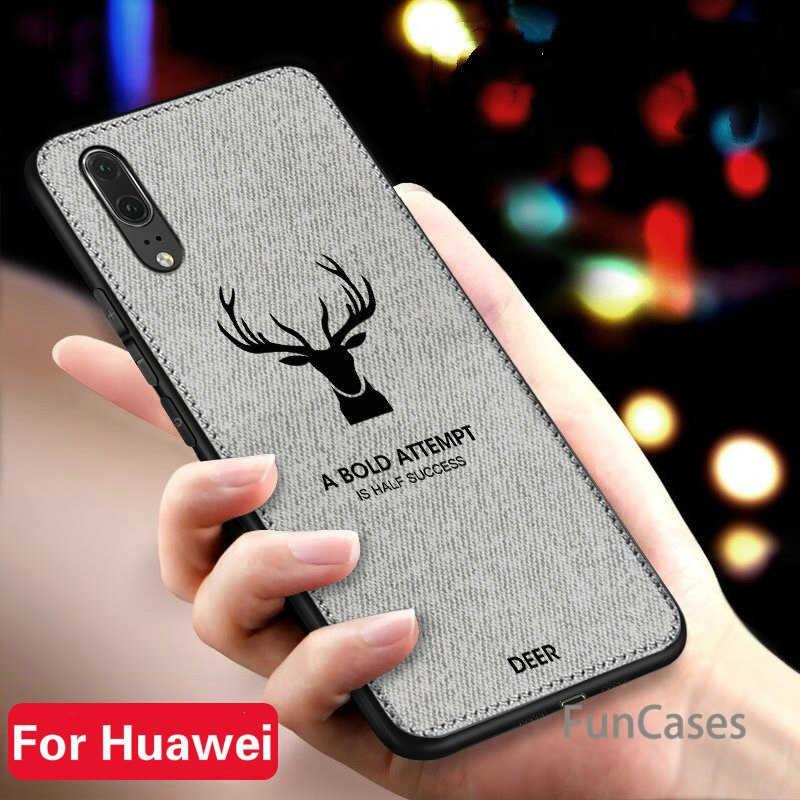 Mỏng Giáng Sinh Hươu Vải Điện Thoại Trường Hợp Đối Với Huawei Honor 7X6X8 9 10 Sang Trọng Retro Vải Trường Hợp người bạn đời 20 Lite P20 P Thông Minh Cộng Với Nova 3i