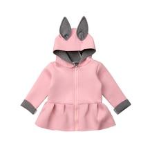 Лидер продаж, пасхальное пальто для маленьких девочек с 3D ушками кролика куртка с длинными рукавами, одежда
