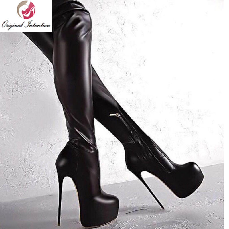 Stiletto High Heel Womens Pull On Platform Over The Knee Thigh Thin Boots