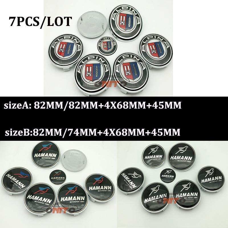 7Pcs Emblem Kit Front Hood Badge Rear Trunk Cap Wheel Center Cover 82mm 74mm 68mm 45mm