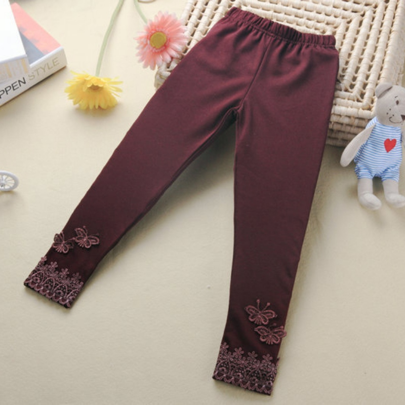 Kid Baby Butterfly Lace Warm Pants Girl Stretchy Leggings Toddler Trousers
