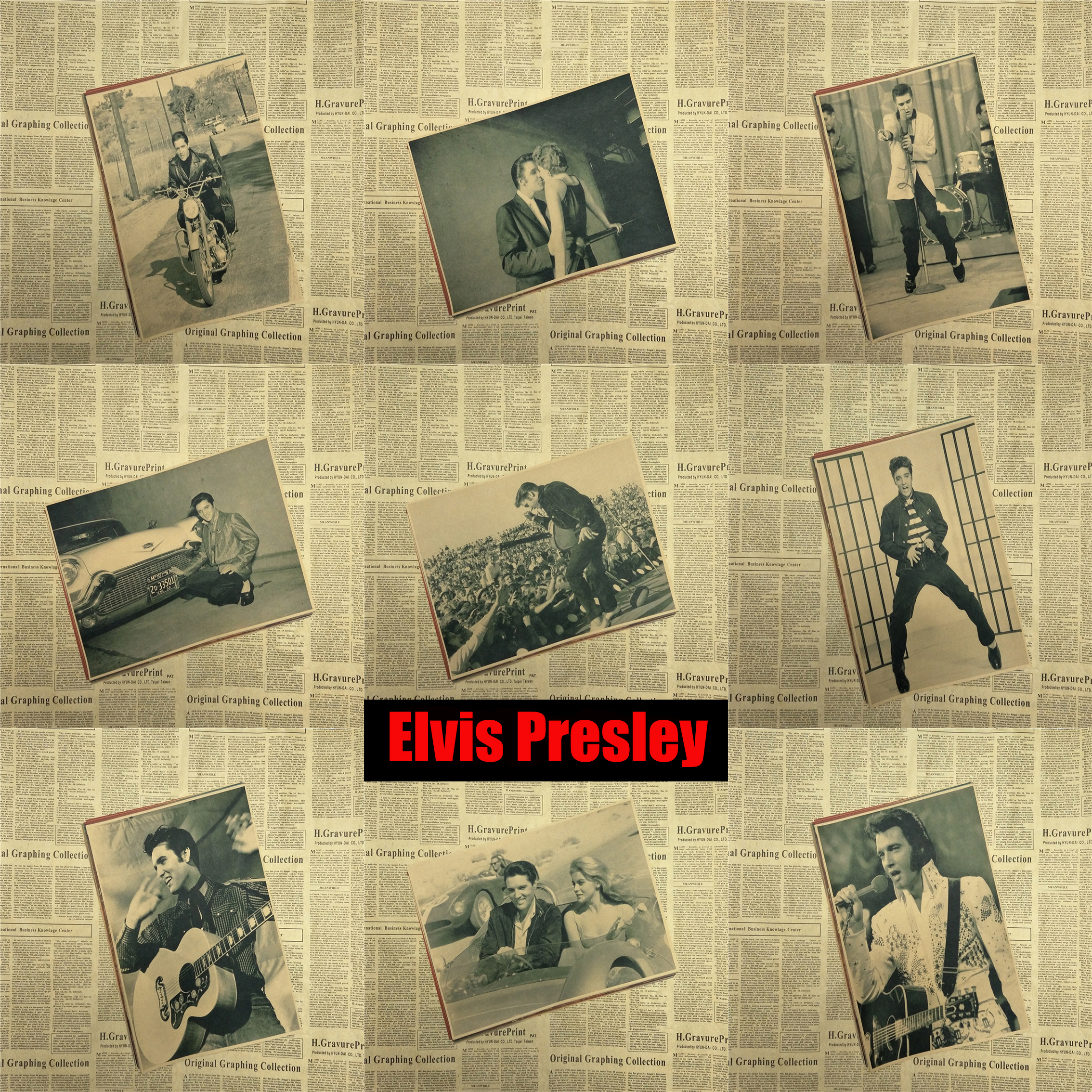 Vintage Poster Elvis Presley Retro decorative painting poster bar ...