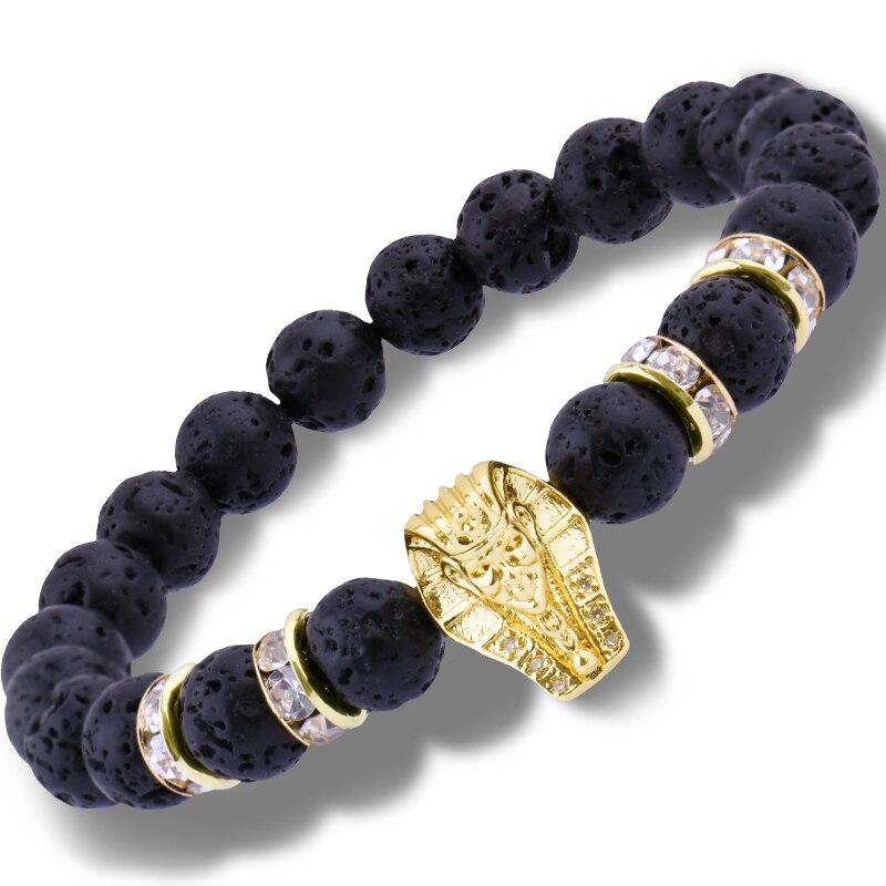 A new version of Witch girl Bracelet Black Lava Volcanic Stone Zircon Elasticity Charm Bracelets Bangle Male Warrior