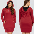2016 Autumn Winter large size hooded sweater dress High-quality long-sleeved plus size womes clothing Ruffled dress vestidos