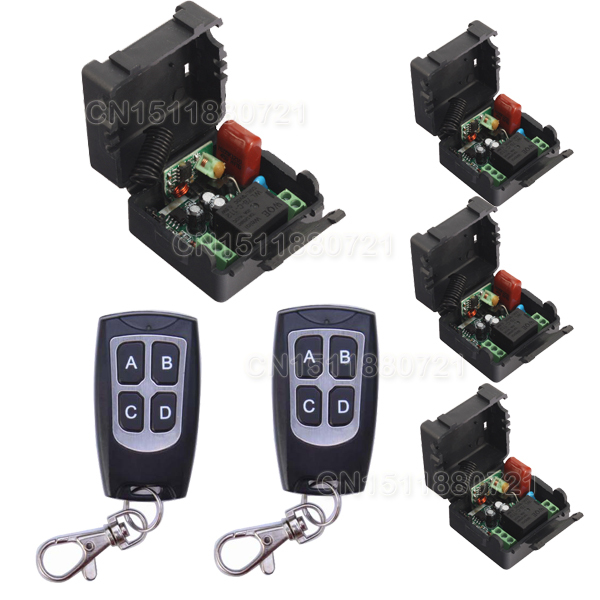 smart home 220V 4 Receiver&2Transmitter RF Wireless Remote Control Light Switch 1CH Interruptor 10A Light Lamp LED SMD centurion smart 1 smart 2 smart 4 replacement remote control