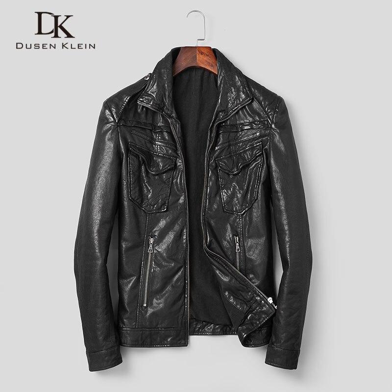 Männer Echte Lederjacke Schaffell Jacken Beiläufige Kurze Schwarz Taschen 2019 Herbst Neue Jacke für Mann Gewaschen Leder s1042