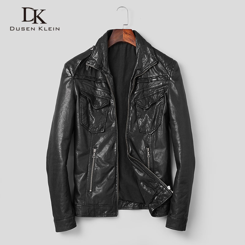 Men Genuine Leather Jacket Real Sheepskin Jackets Casual Short Black Pockets 2019 Autumn New Jacket For Man Washed Leather S1042