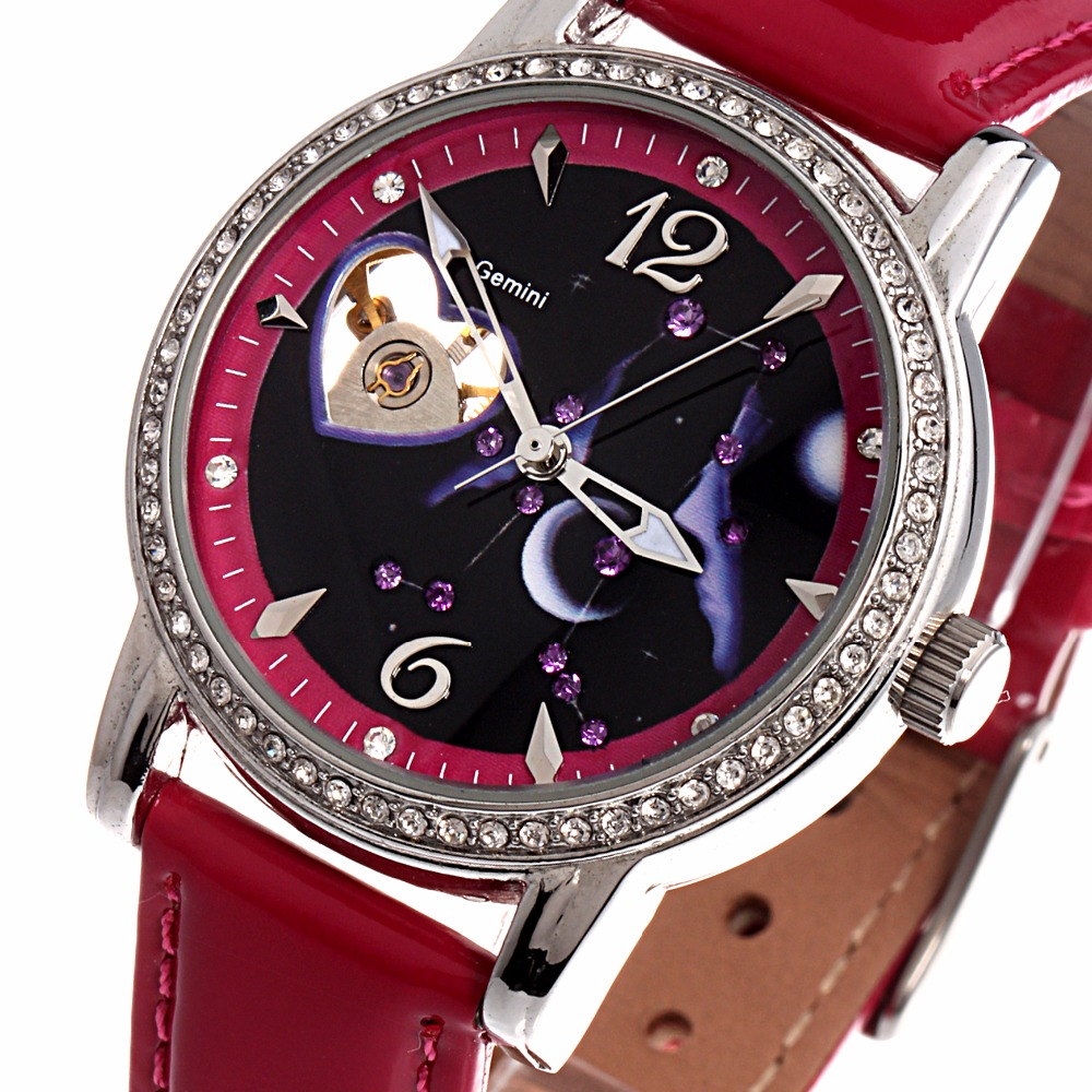 TIME100 12 Constellation Automatic Mechanical Watches Women Diamond Watch Star Leather Strap Casual Wrist Watch Relogio